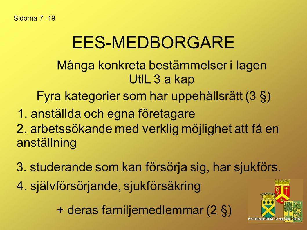 EES-MEDBORGARE 1. anställda och egna företagare Fyra kategorier som har uppehållsrätt (3 §) Många konkreta bestämmelser i lagen UtlL 3 a kap Sidorna 7