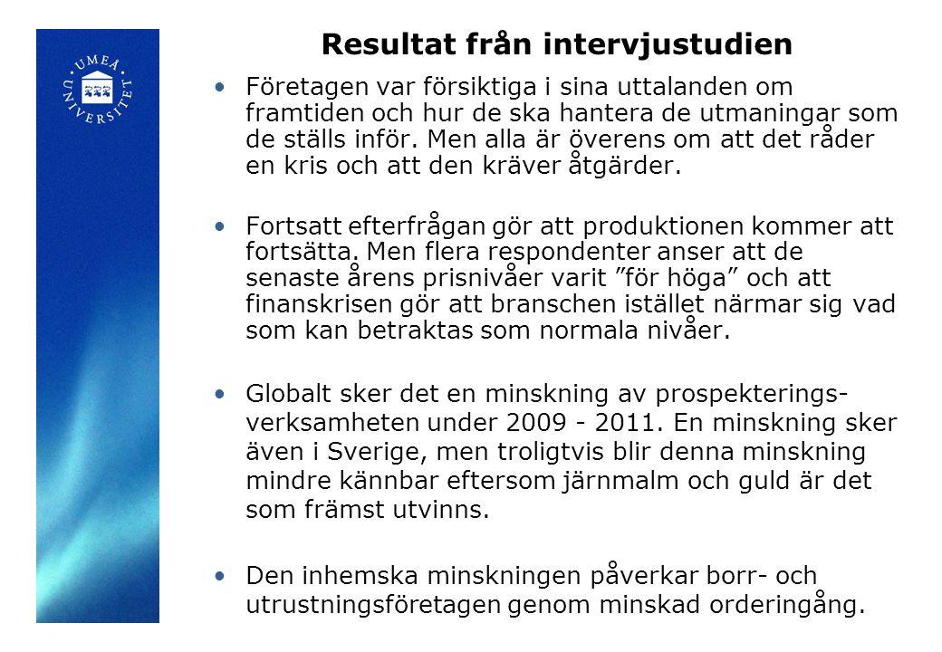 Resultat från intervjustudien Företagen var försiktiga i sina uttalanden om framtiden och hur de ska hantera de utmaningar som de ställs inför.