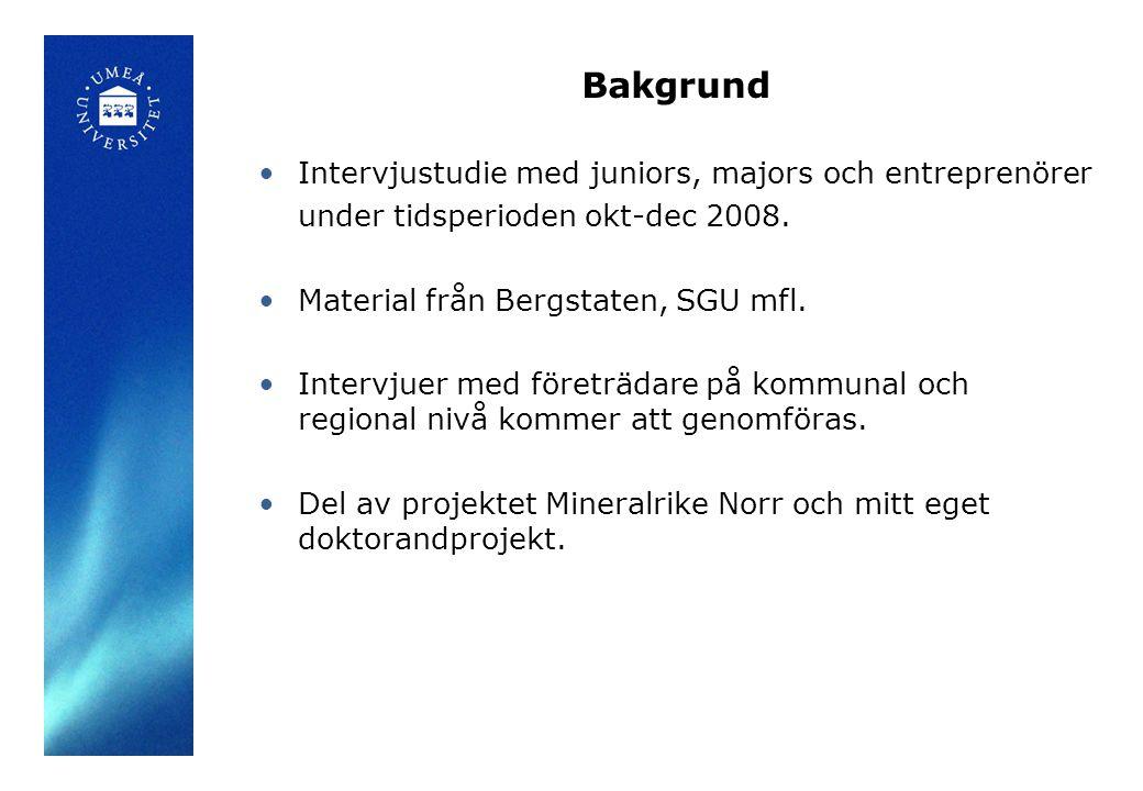 Bakgrund Intervjustudie med juniors, majors och entreprenörer under tidsperioden okt-dec 2008.