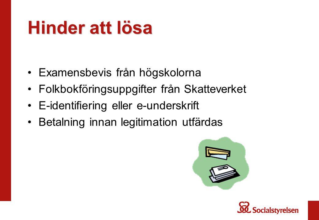 Genomförande STEG I Ansökan via Webben med identifiering via e- legitimation eller e-underskrift Examensuppgifter hämtas från Ladok Folkbokföringsuppgifter hämtas från Skatteverket