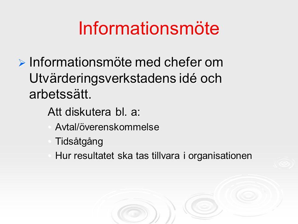 Informationsmöte  Informationsmöte med chefer om Utvärderingsverkstadens idé och arbetssätt. Att diskutera bl. a: Avtal/överenskommelseAvtal/överensk