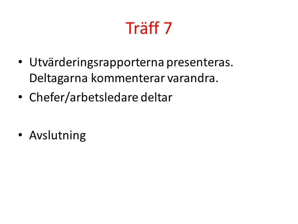 Träff 7 Utvärderingsrapporterna presenteras. Deltagarna kommenterar varandra. Chefer/arbetsledare deltar Avslutning