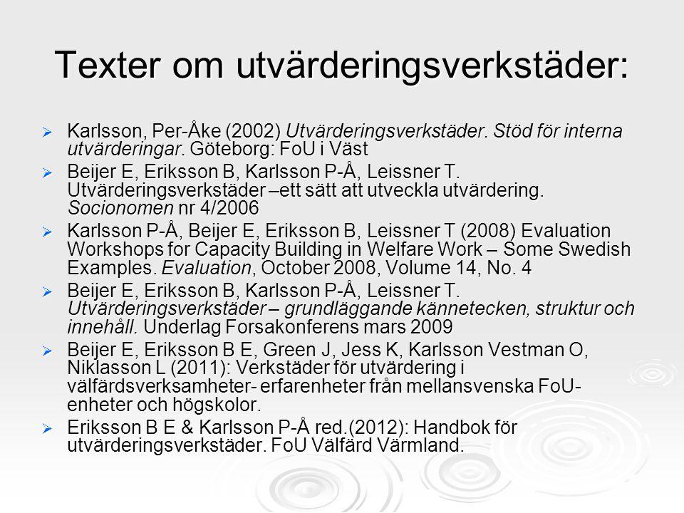 Texter om utvärderingsverkstäder:  Karlsson, Per-Åke (2002) Utvärderingsverkstäder. Stöd för interna utvärderingar. Göteborg: FoU i Väst  Beijer E,