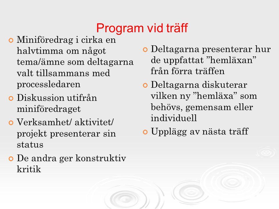 """Program vid träff Deltagarna presenterar hur de uppfattat """"hemläxan"""" från förra träffen Deltagarna diskuterar vilken ny """"hemläxa"""" som behövs, gemensam"""