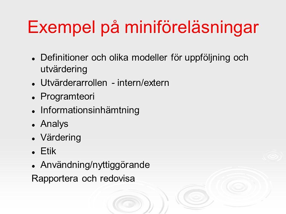 Exempel på miniföreläsningar Definitioner och olika modeller för uppföljning och utvärdering Definitioner och olika modeller för uppföljning och utvär