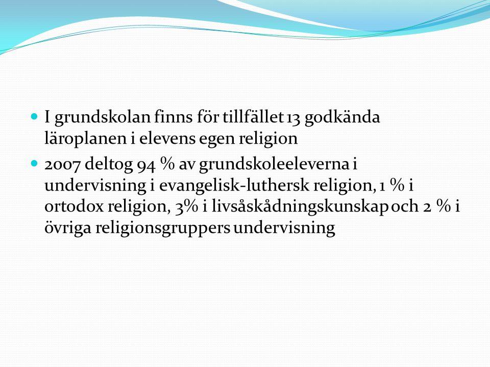 I grundskolan finns för tillfället 13 godkända läroplanen i elevens egen religion 2007 deltog 94 % av grundskoleeleverna i undervisning i evangelisk-l