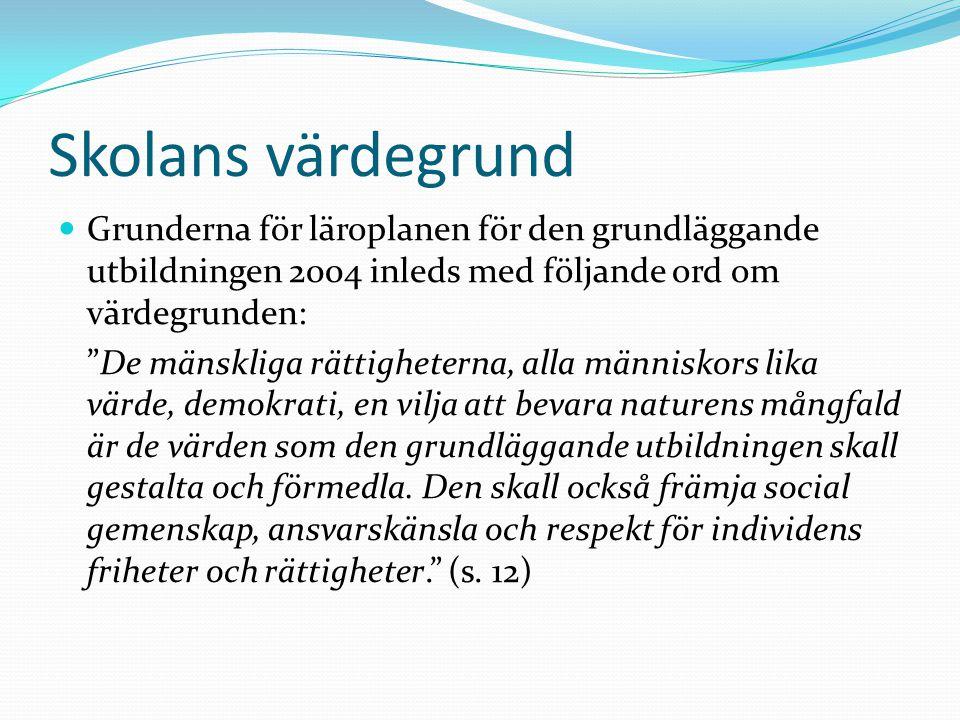 """Skolans värdegrund Grunderna för läroplanen för den grundläggande utbildningen 2004 inleds med följande ord om värdegrunden: """"De mänskliga rättigheter"""