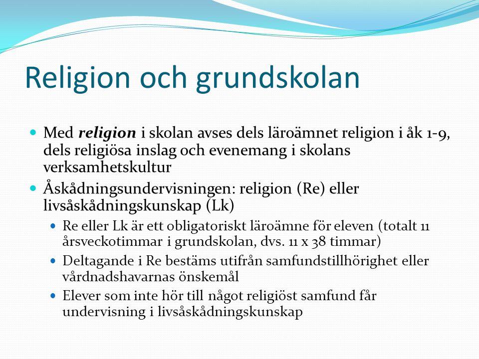 Religion och grundskolan Med religion i skolan avses dels läroämnet religion i åk 1-9, dels religiösa inslag och evenemang i skolans verksamhetskultur