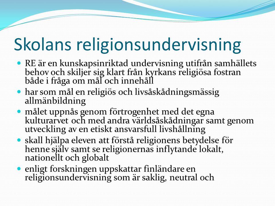 Religionsundervisningens uppgift bygger på elevens rätt till sådan undervisning Skapa förståelse för religionens grundkaraktär Bekanta sig med den egna religionen Ge eleverna beredskap att leva i en multireligiös värld Förstå livets etiska dimension