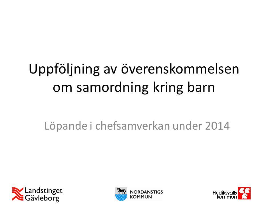 Uppföljning av överenskommelsen om samordning kring barn Löpande i chefsamverkan under 2014