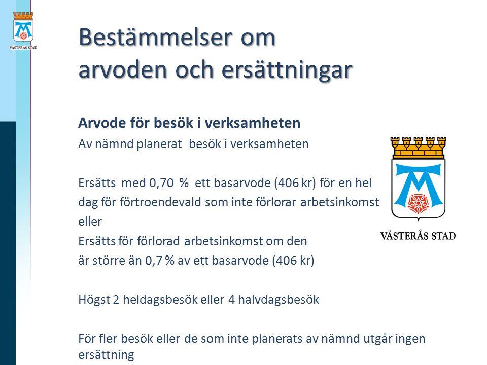Bestämmelser om arvoden och ersättningar Bestämmelser om arvoden och ersättningar Arvode för besök i verksamheten Av nämnd planerat besök i verksamhet