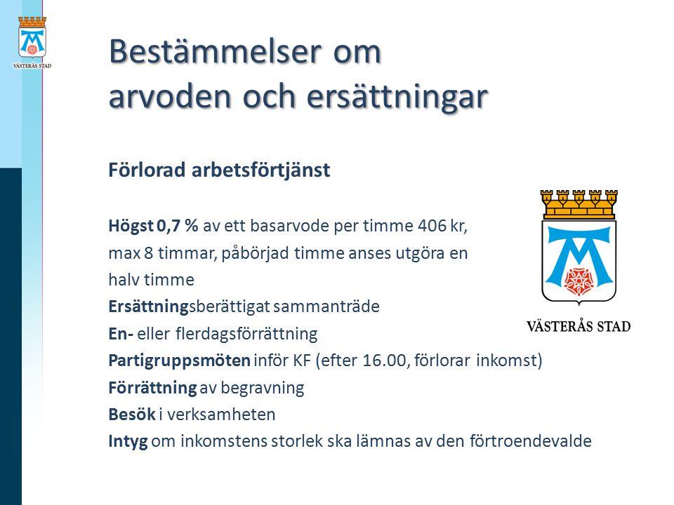 Bestämmelser om arvoden och ersättningar Bestämmelser om arvoden och ersättningar Förlorad arbetsförtjänst Högst 0,7 % av ett basarvode per timme 406