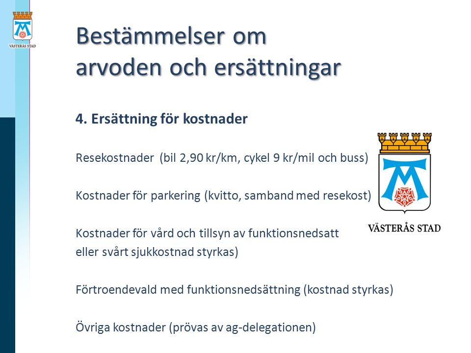 Bestämmelser om arvoden och ersättningar Bestämmelser om arvoden och ersättningar 4. Ersättning för kostnader Resekostnader (bil 2,90 kr/km, cykel 9 k