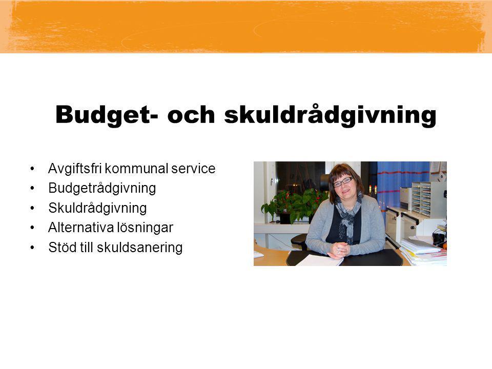 Budget- och skuldrådgivning Avgiftsfri kommunal service Budgetrådgivning Skuldrådgivning Alternativa lösningar Stöd till skuldsanering