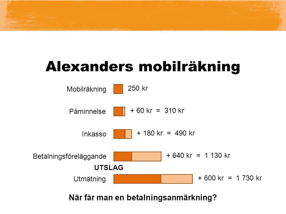 Mobilräkning + 60 kr = 310 kr + 180 kr = 490 kr + 640 kr = 1 130 kr + 600 kr = 1 730 kr 250 kr Påminnelse Inkasso UTSLAG När får man en betalningsanmä