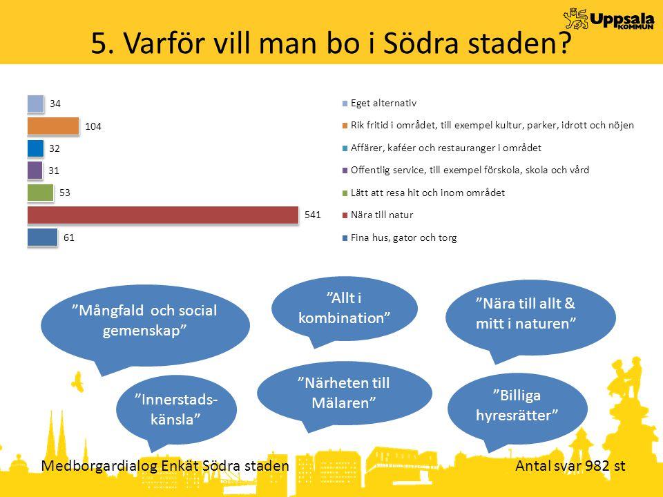 Medborgardialog Enkät Södra staden Antal svar 982 st 5.