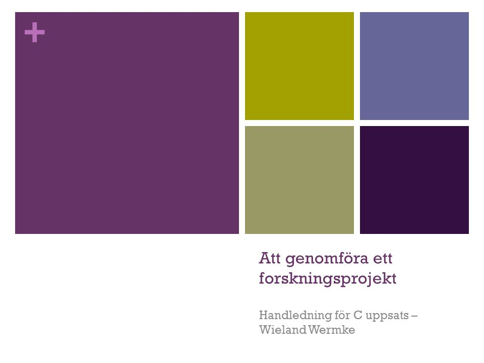 + Att genomföra ett forskningsprojekt Handledning för C uppsats – Wieland Wermke