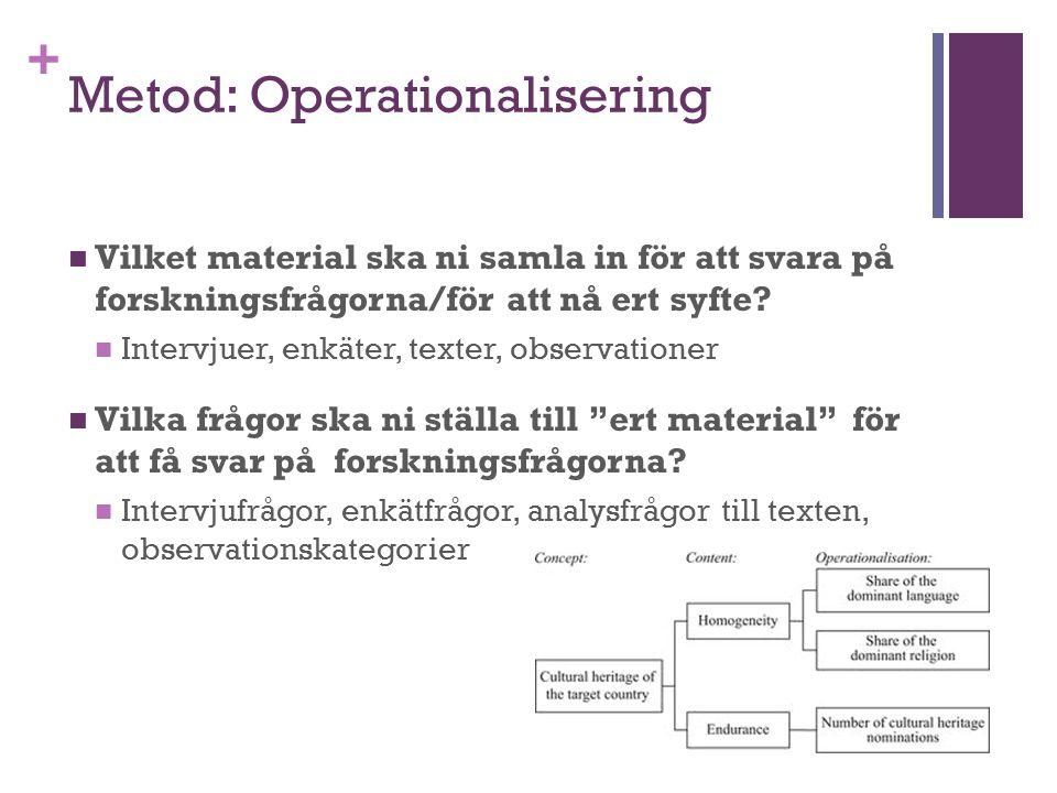 + Metod: Operationalisering Vilket material ska ni samla in för att svara på forskningsfrågorna/för att nå ert syfte? Intervjuer, enkäter, texter, obs