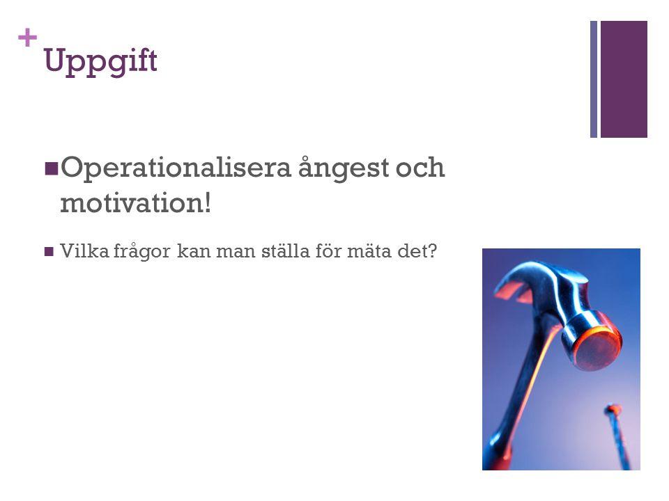 + Uppgift Operationalisera ångest och motivation! Vilka frågor kan man ställa för mäta det?