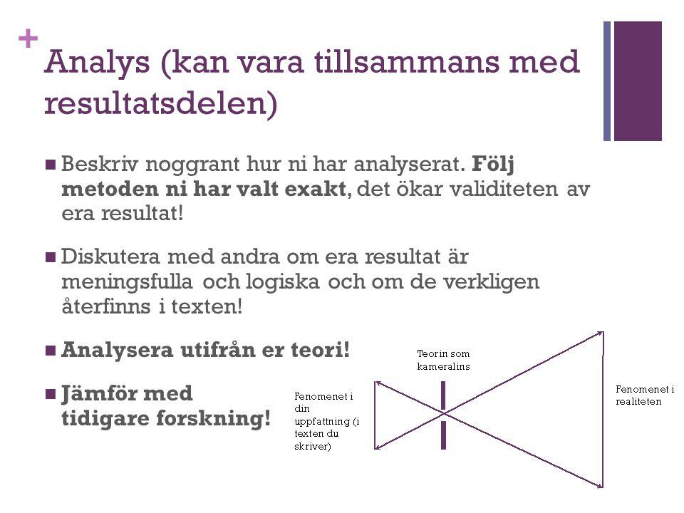 + Analys (kan vara tillsammans med resultatsdelen) Beskriv noggrant hur ni har analyserat. Följ metoden ni har valt exakt, det ökar validiteten av era