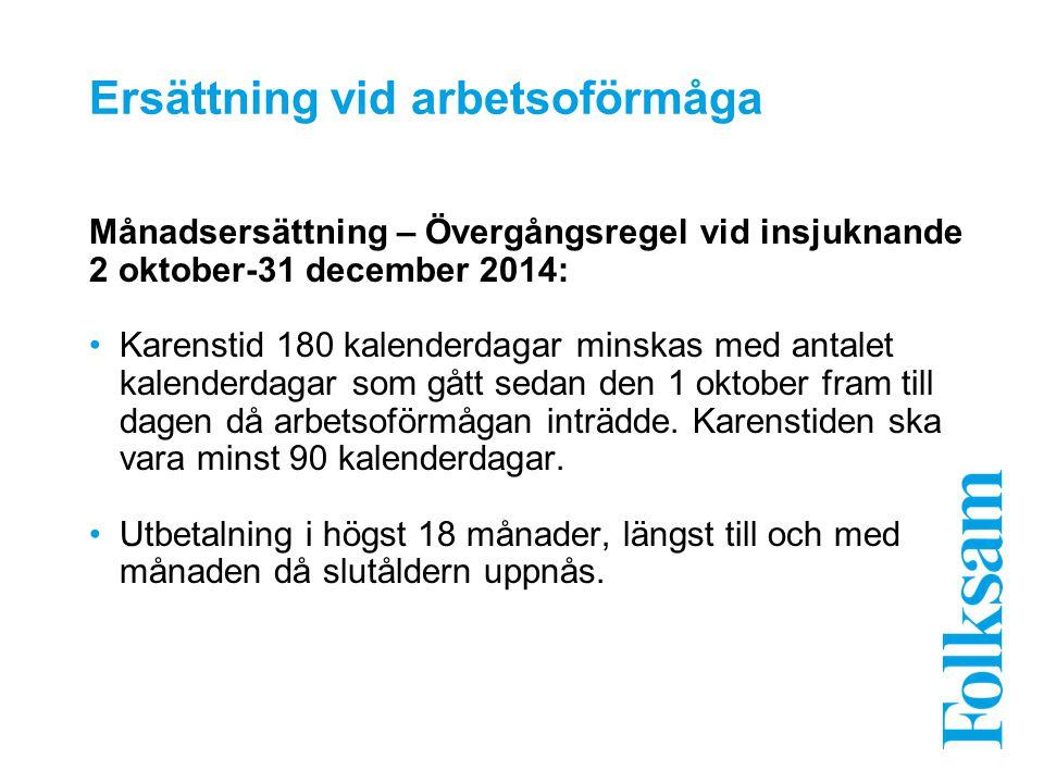 Ersättning vid arbetsoförmåga Månadsersättning – Övergångsregel vid insjuknande 2 oktober-31 december 2014: Karenstid 180 kalenderdagar minskas med an