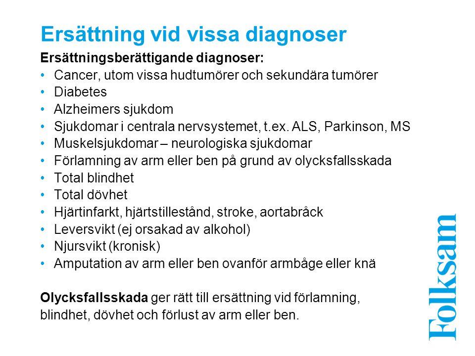 Ersättning vid vissa diagnoser Ersättningsberättigande diagnoser: Cancer, utom vissa hudtumörer och sekundära tumörer Diabetes Alzheimers sjukdom Sjukdomar i centrala nervsystemet, t.ex.