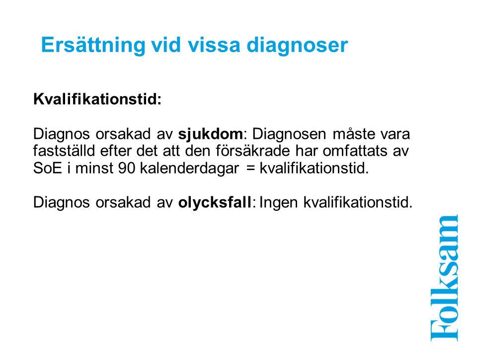 Ersättning vid vissa diagnoser Kvalifikationstid: Diagnos orsakad av sjukdom: Diagnosen måste vara fastställd efter det att den försäkrade har omfatta