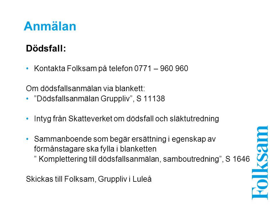 Anmälan Dödsfall: Kontakta Folksam på telefon 0771 – 960 960 Om dödsfallsanmälan via blankett: Dödsfallsanmälan Gruppliv , S 11138 Intyg från Skatteverket om dödsfall och släktutredning Sammanboende som begär ersättning i egenskap av förmånstagare ska fylla i blanketten Komplettering till dödsfallsanmälan, samboutredning , S 1646 Skickas till Folksam, Gruppliv i Luleå
