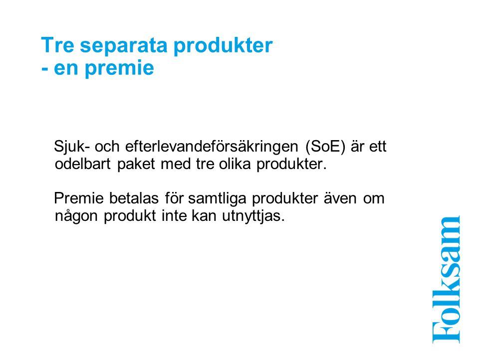 Tre separata produkter - en premie Sjuk- och efterlevandeförsäkringen (SoE) är ett odelbart paket med tre olika produkter. Premie betalas för samtliga