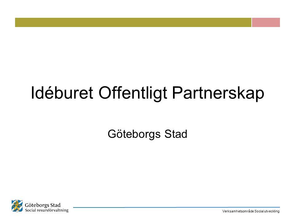 Verksamhetsområde Social utveckling Idéburet Offentligt Partnerskap Göteborgs Stad
