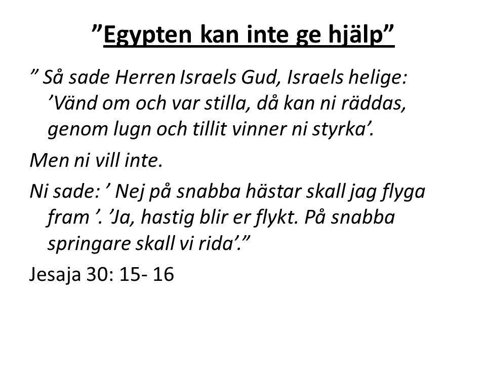 """"""" """"Egypten kan inte ge hjälp"""" """" Så sade Herren Israels Gud, Israels helige: 'Vänd om och var stilla, då kan ni räddas, genom lugn och tillit vinner ni"""