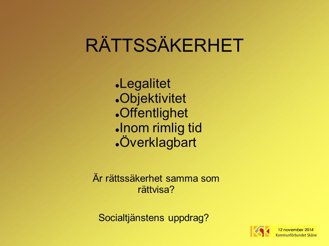 RÄTTSSÄKERHET Legalitet Objektivitet Offentlighet Inom rimlig tid Överklagbart Socialtjänstens uppdrag? Är rättssäkerhet samma som rättvisa?