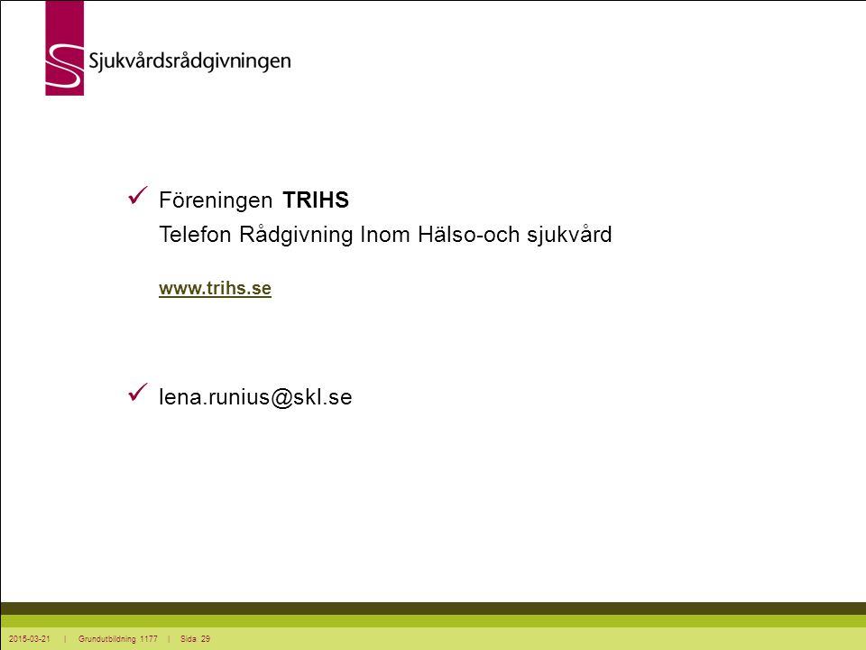 2015-03-21 | Grundutbildning 1177 | Sida 29 Föreningen TRIHS Telefon Rådgivning Inom Hälso-och sjukvård www.trihs.se www.trihs.se lena.runius@skl.se
