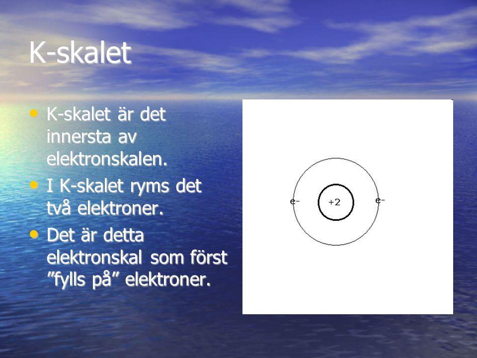 K-skalet K-skalet är det innersta av elektronskalen. K-skalet är det innersta av elektronskalen. I K-skalet ryms det två elektroner. I K-skalet ryms d