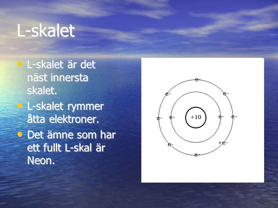 L-skalet L-skalet är det näst innersta skalet. L-skalet är det näst innersta skalet. L-skalet rymmer åtta elektroner. L-skalet rymmer åtta elektroner.