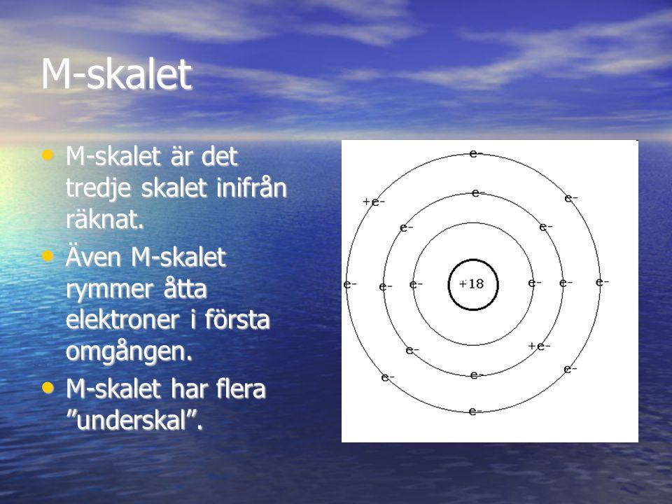 M-skalet M-skalet är det tredje skalet inifrån räknat. M-skalet är det tredje skalet inifrån räknat. Även M-skalet rymmer åtta elektroner i första omg