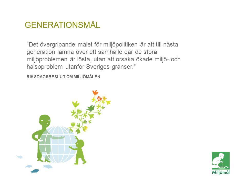 GENERATIONSMÅLETS STRECKSATSER -ekosystemen är på väg att återhämta sig -den biologiska mångfalden och natur- och kulturmiljön bevaras -människors hälsa utsätts för minimal negativ miljöpåverkan -kretsloppen är resurseffektiva och så långt som möjligt fria från farliga ämnen -en god hushållning sker med naturresurserna -andelen förnybar energi ökar och energianvändningen är effektiv -konsumtionsmönstren av varor och tjänster orsakar så små miljö- och hälsoproblem som möjligt
