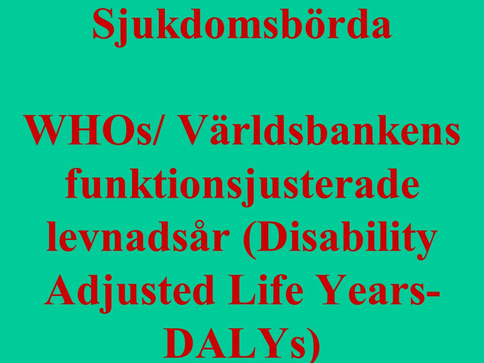 Sjukdomsbörda WHOs/ Världsbankens funktionsjusterade levnadsår (Disability Adjusted Life Years- DALYs)