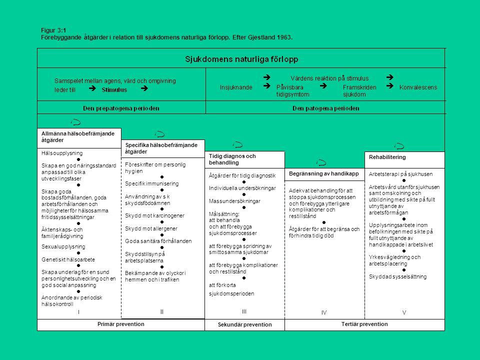 Figur 3:1 Förebyggande åtgärder i relation till sjukdomens naturliga förlopp.