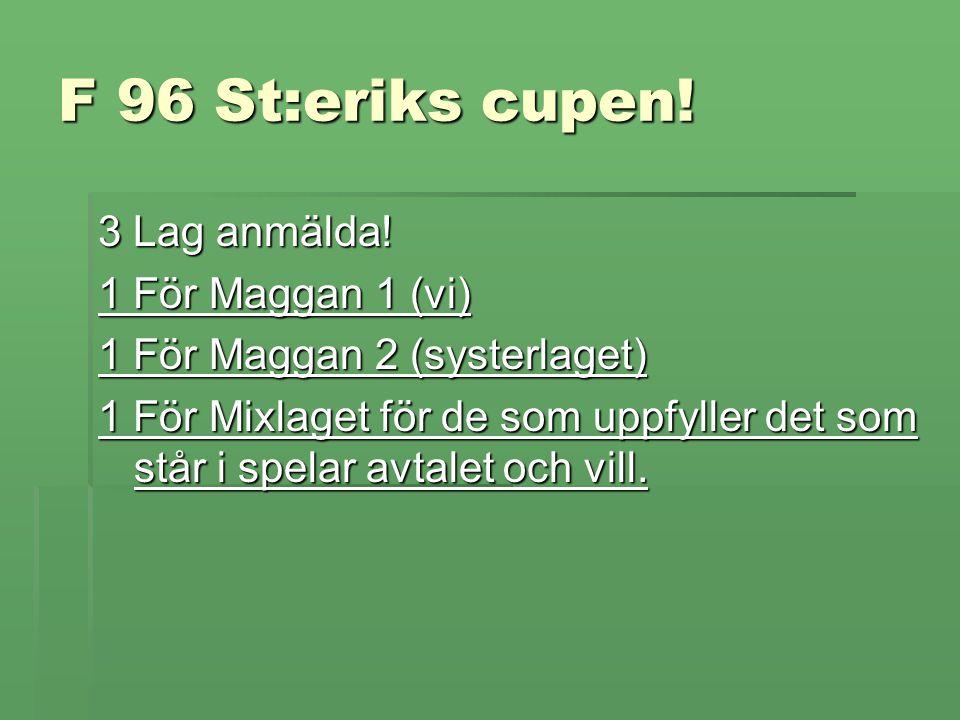 F 96 St:eriks cupen. 3 Lag anmälda.