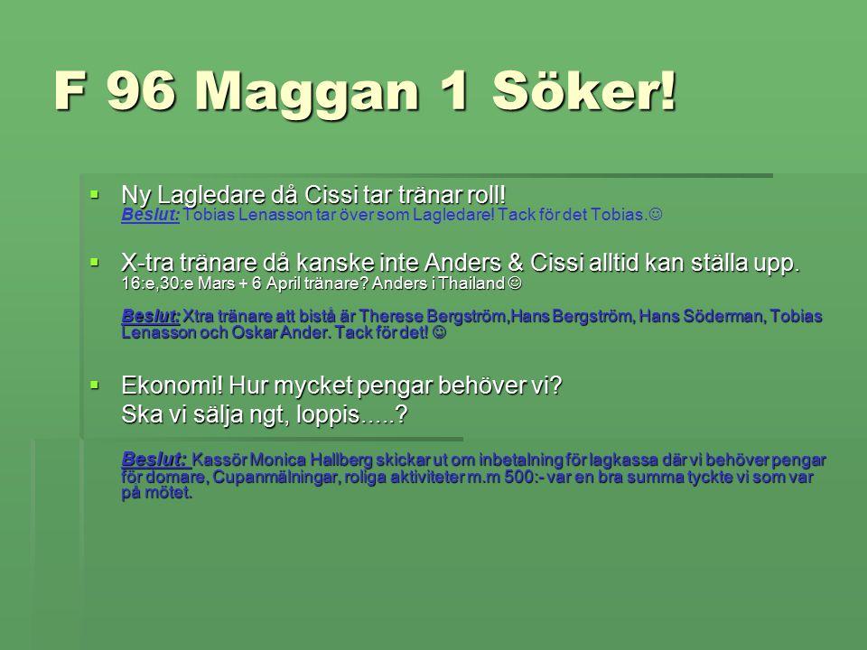 F 96 Maggan 1 Söker.  Ny Lagledare då Cissi tar tränar roll.