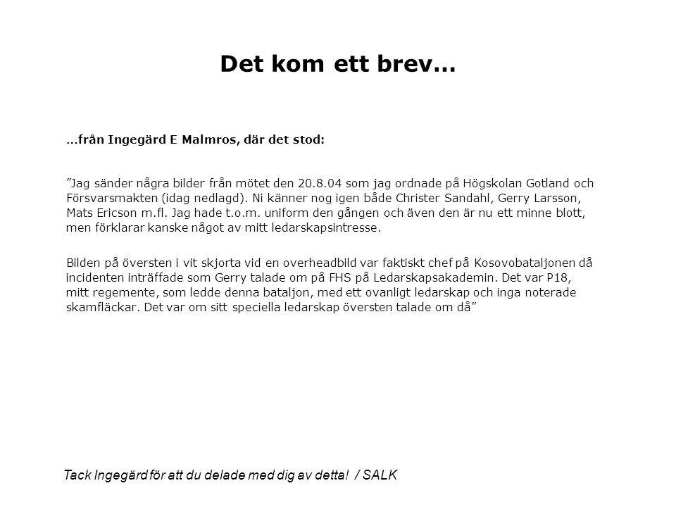 Det kom ett brev… …från Ingegärd E Malmros, där det stod: Jag sänder några bilder från mötet den 20.8.04 som jag ordnade på Högskolan Gotland och Försvarsmakten (idag nedlagd).