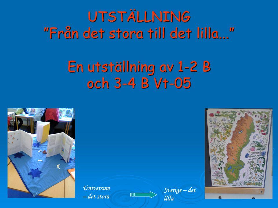 UTSTÄLLNING Från det stora till det lilla... En utställning av 1-2 B och 3-4 B Vt-05 Universum – det stora Sverige – det lilla