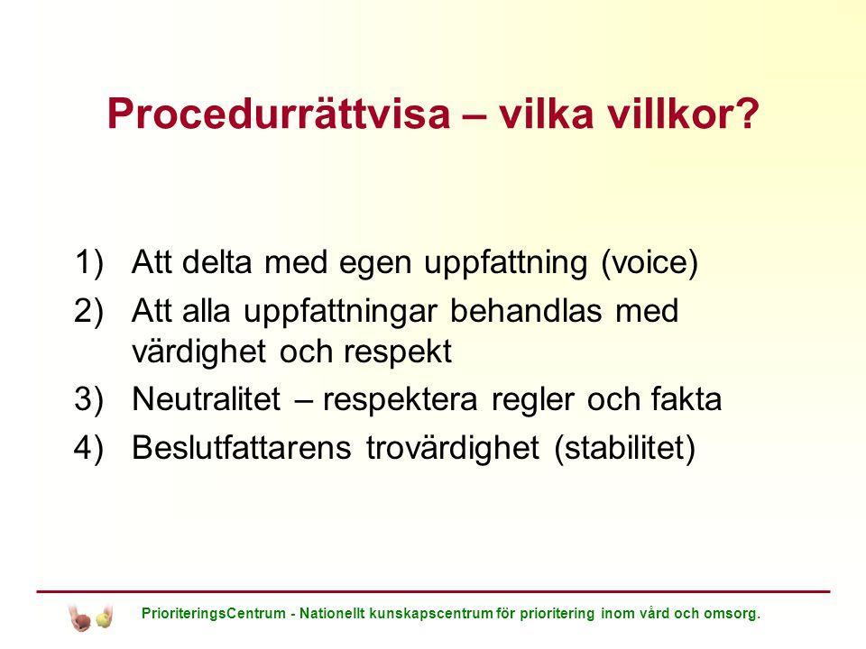 PrioriteringsCentrum - Nationellt kunskapscentrum för prioritering inom vård och omsorg. Procedurrättvisa – vilka villkor? 1)Att delta med egen uppfat