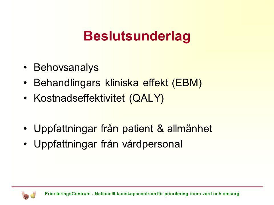 PrioriteringsCentrum - Nationellt kunskapscentrum för prioritering inom vård och omsorg. Beslutsunderlag Behovsanalys Behandlingars kliniska effekt (E