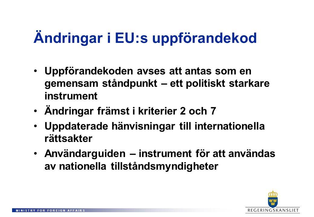 M I N I S T R Y F O R F O R E I G N A F F A I R S Ändringar i EU:s uppförandekod Uppförandekoden avses att antas som en gemensam ståndpunkt – ett politiskt starkare instrument Ändringar främst i kriterier 2 och 7 Uppdaterade hänvisningar till internationella rättsakter Användarguiden – instrument för att användas av nationella tillståndsmyndigheter