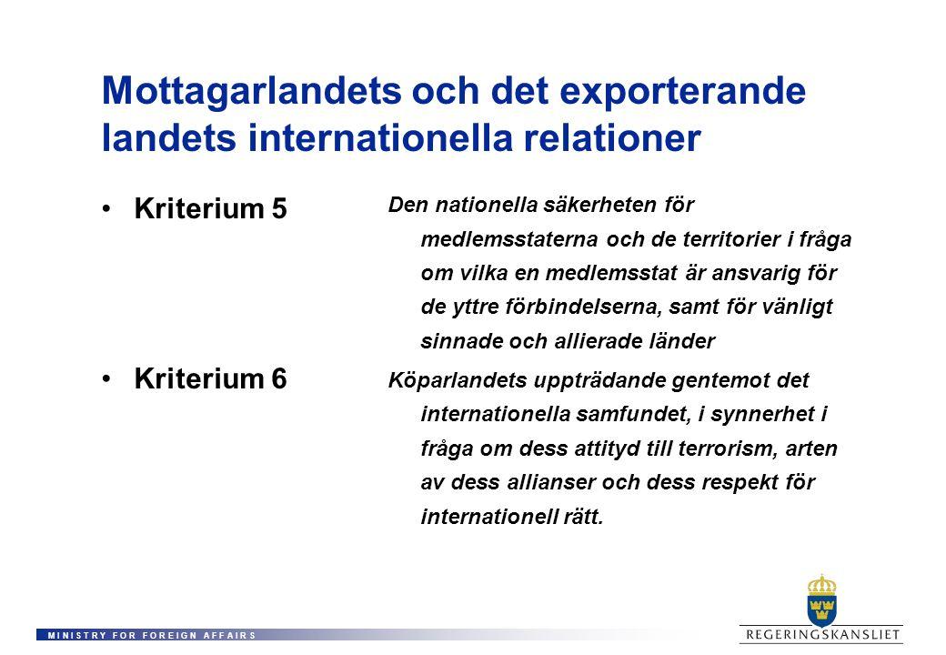M I N I S T R Y F O R F O R E I G N A F F A I R S Mottagarlandets och det exporterande landets internationella relationer Kriterium 5 Kriterium 6 Den