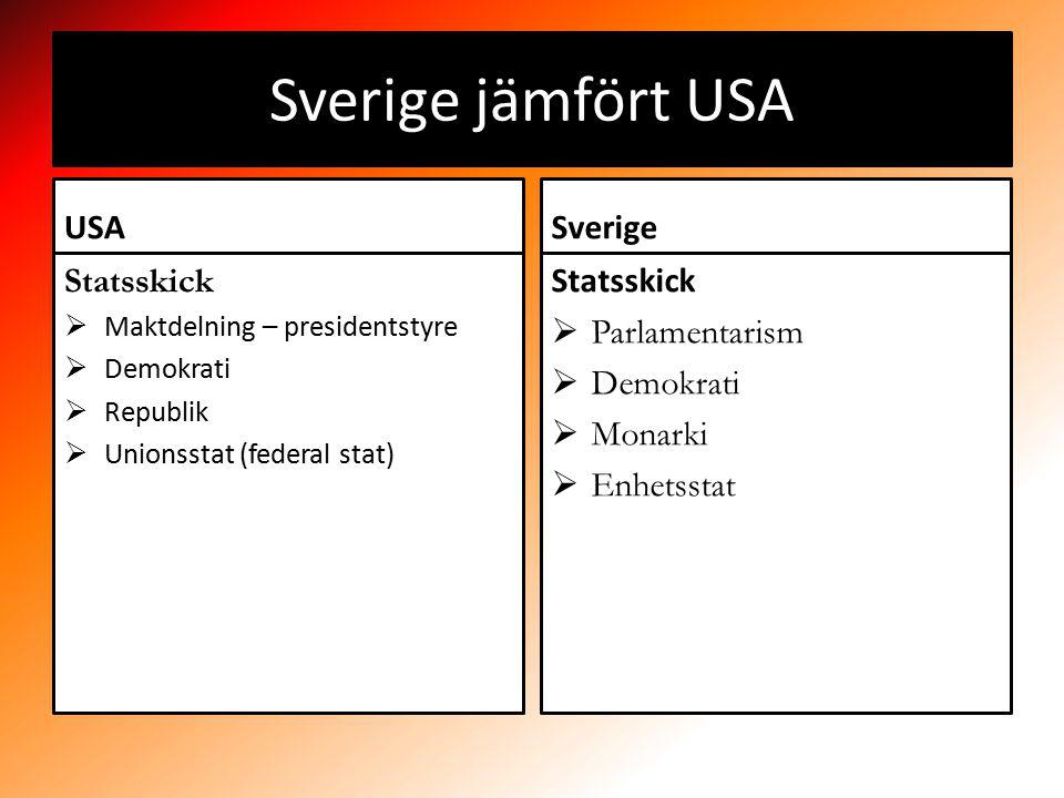 Sverige jämfört USA USA Statsskick  Maktdelning – presidentstyre  Demokrati  Republik  Unionsstat (federal stat) Sverige Statsskick  Parlamentarism  Demokrati  Monarki  Enhetsstat