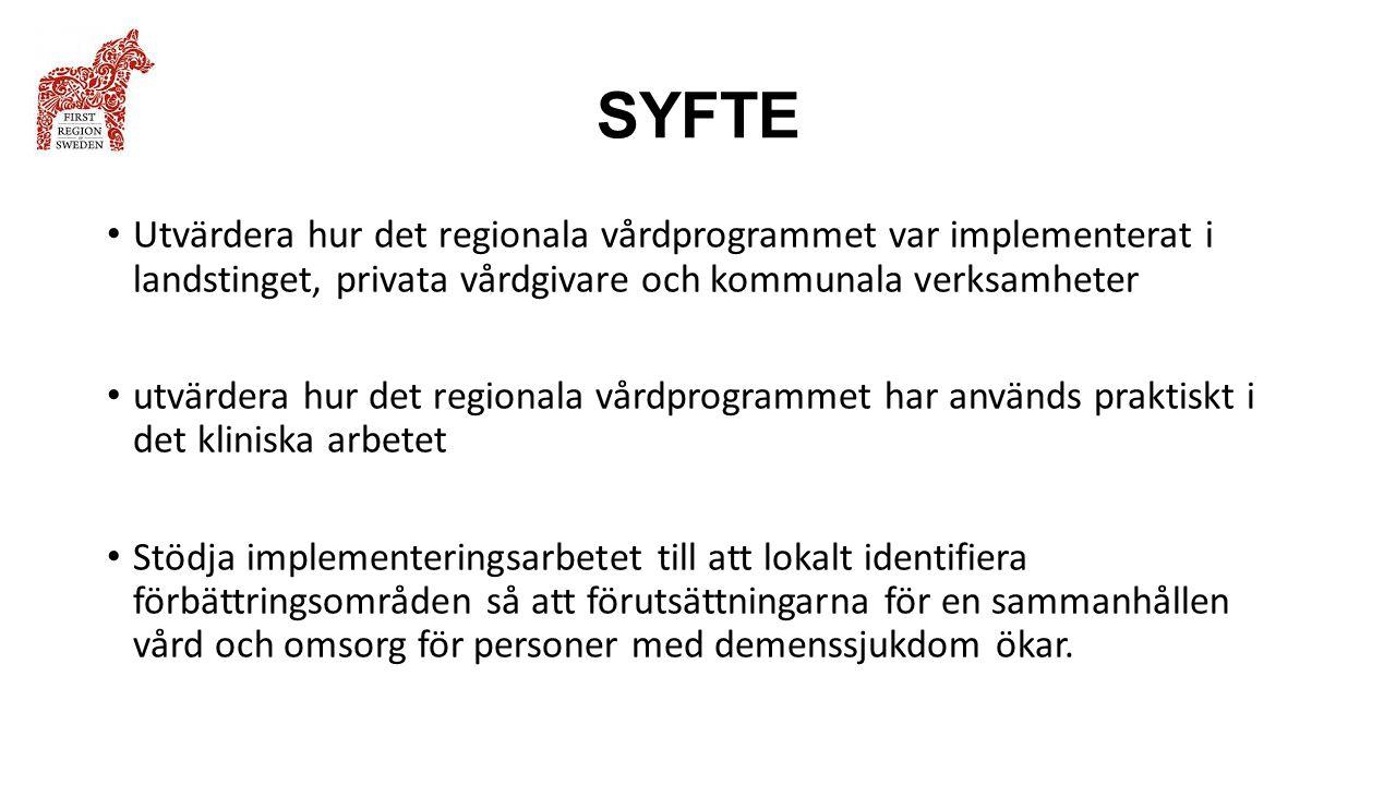 SYFTE Utvärdera hur det regionala vårdprogrammet var implementerat i landstinget, privata vårdgivare och kommunala verksamheter utvärdera hur det regi