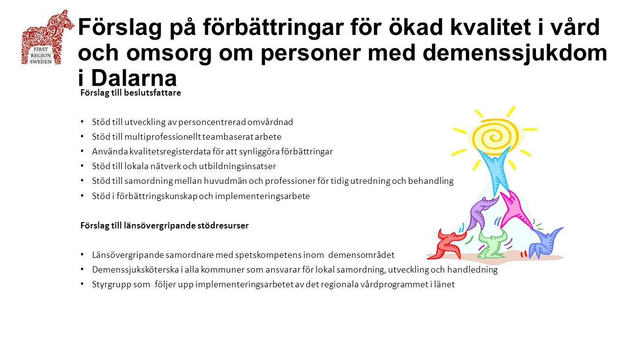 Förslag på förbättringar för ökad kvalitet i vård och omsorg om personer med demenssjukdom i Dalarna Förslag till beslutsfattare Stöd till utveckling